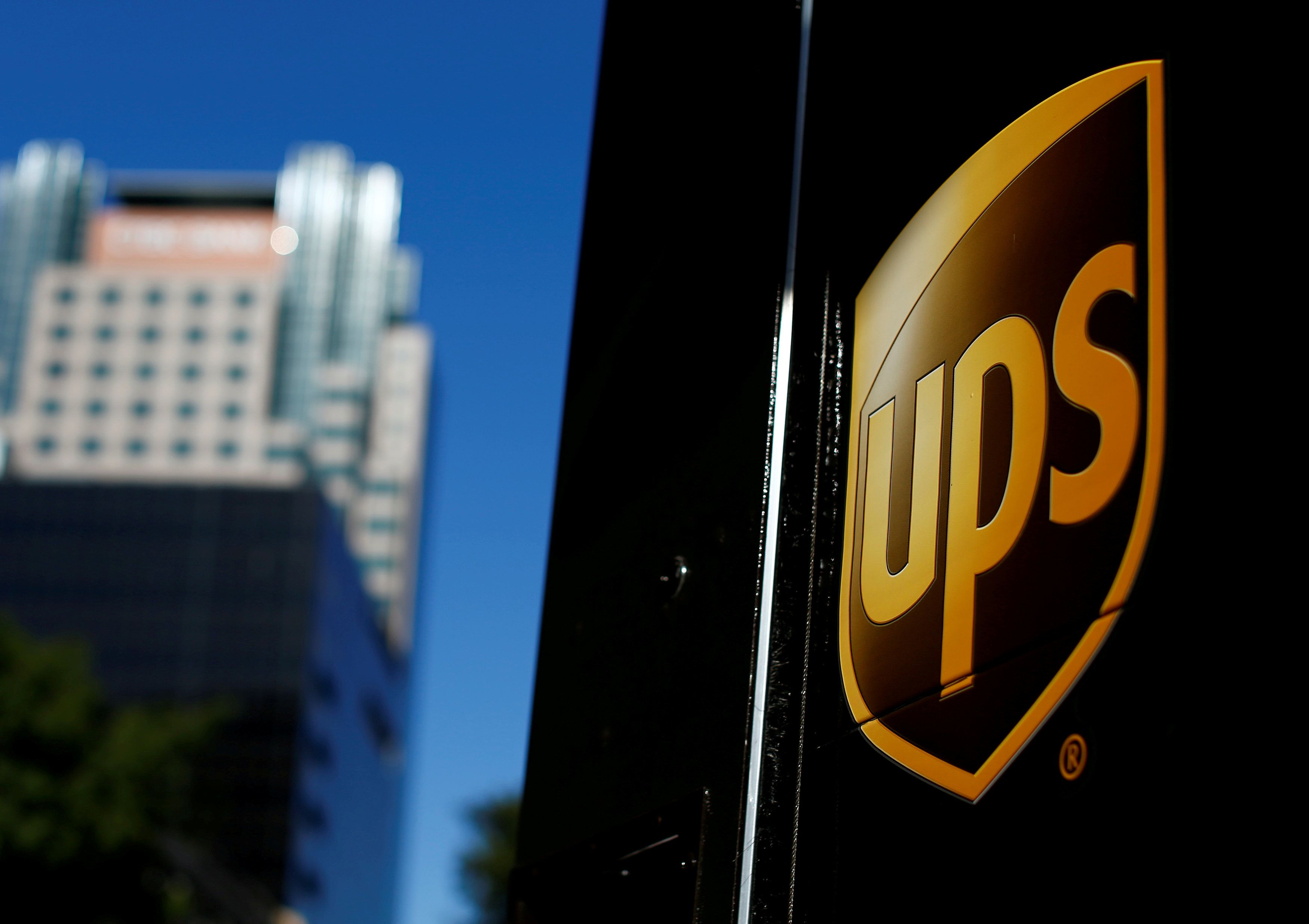 FILE PHOTO: A United Parcel Service (UPS) truck on delivery is pictured in downtown Los Angeles, California, U.S., October 29, 2014. REUTERS/Mike Blake/File Photo