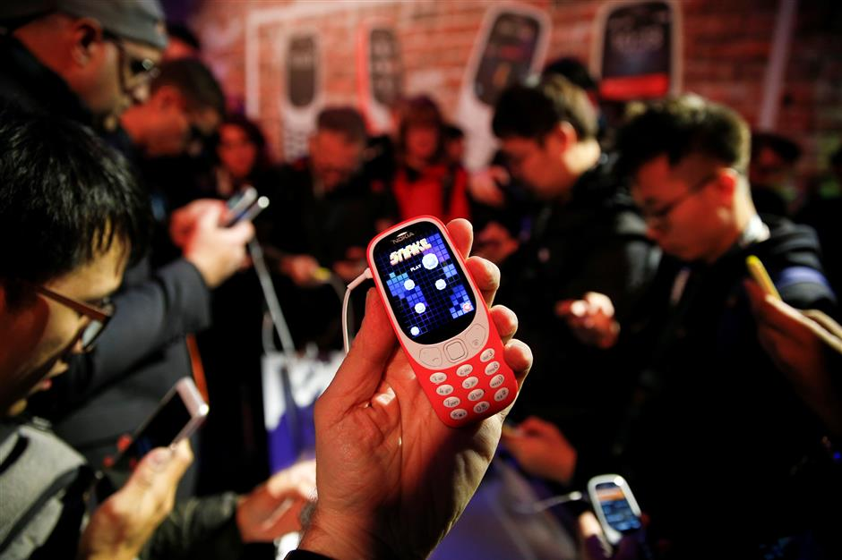 Nokia 3310 device is displayed after its presentation ceremony at Mobile World Congress in Barcelona, Spain, February 26, 2017. REUTERS/Paul Hanna