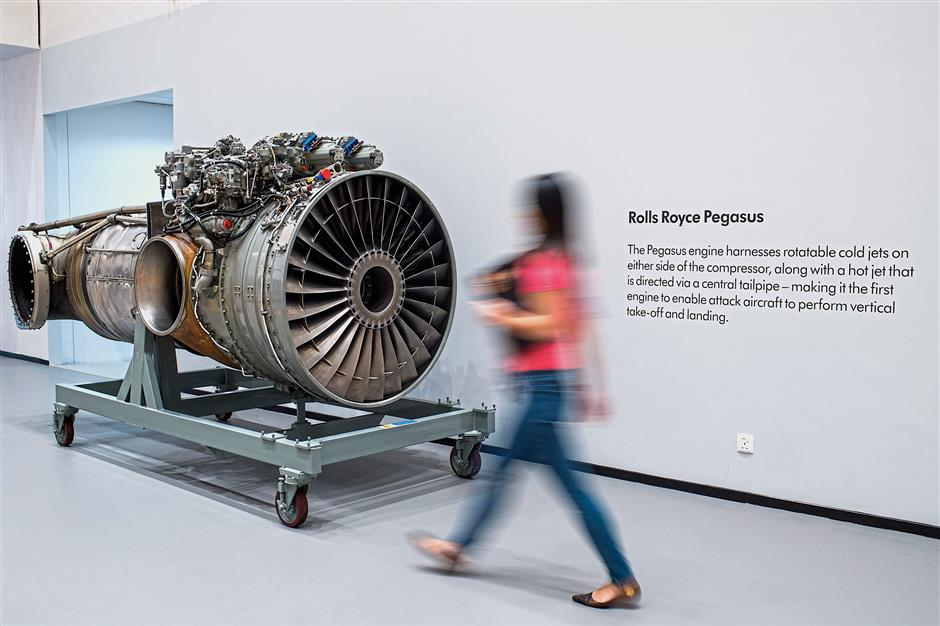 Dyson's Malaysia Development Centre features a Roll Royce Pegasus engine of the Harrier Jet in its cafeteria as an inspiration for its engineers.
