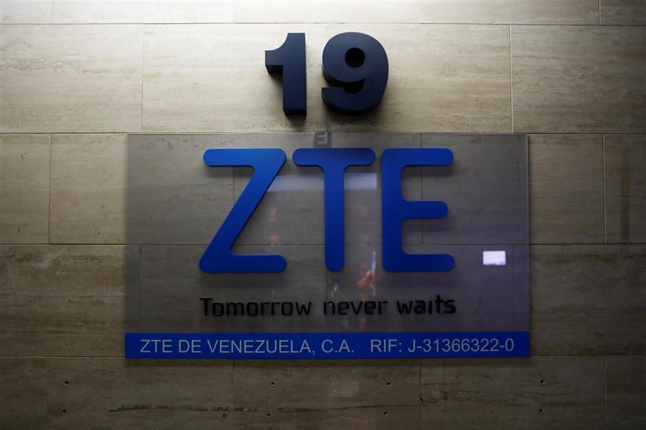 China's ZTE Corp logo is seen at its offices in Caracas, Venezuela October 4, 2018. Picture taken October 4, 2018. REUTERS/Marco Bello