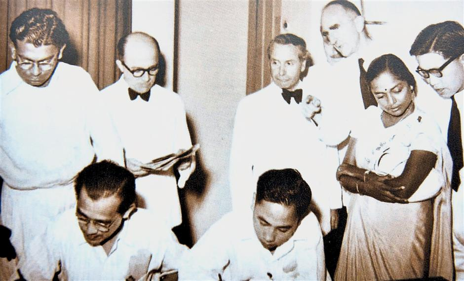 Devaki (second from right) during the first Kuala Lumpur Municipal Council election in 1952.