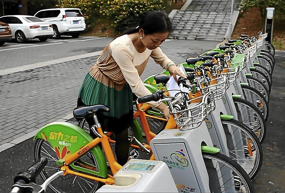 The public bicycle system in Zhuzhou puts bicycles up for rent as a mode of cheap and environmentally friendly transportation.