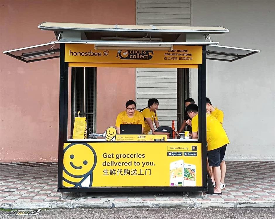 What the Honestbee Click and Collect kiosk at a mall in Johor Bahru looks like.