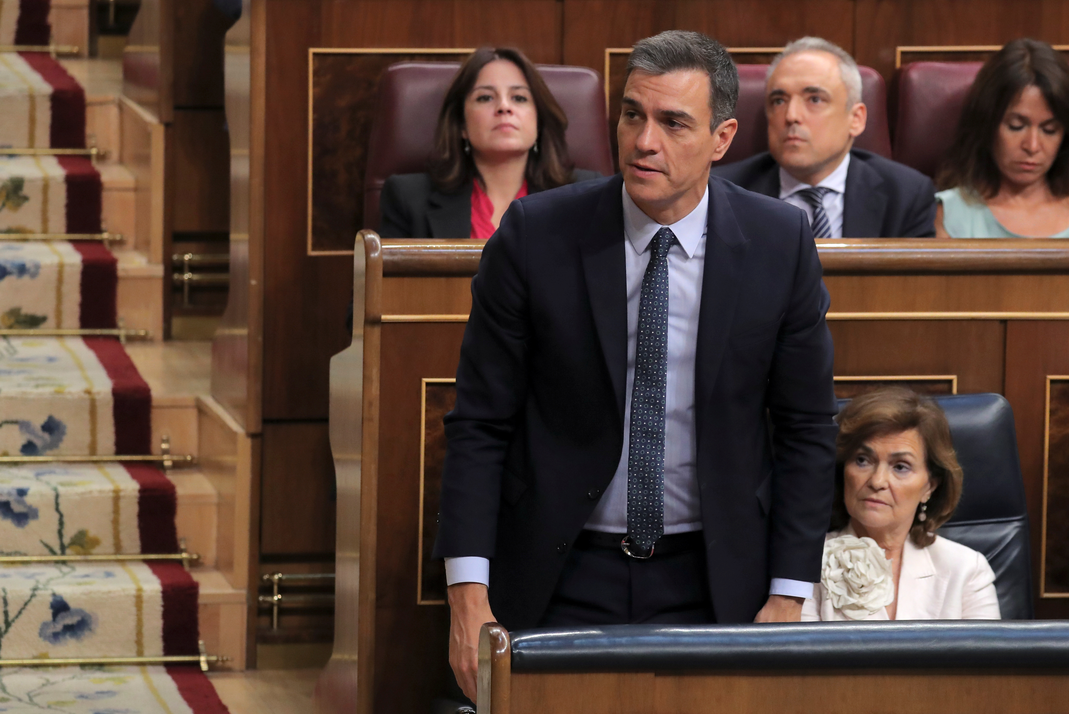 Spain's acting Prime Minister Pedro Sanchez votes during the second day of the investiture debate at the Parliament in Madrid, Spain, July 23, 2019. REUTERS/Sergio Perez