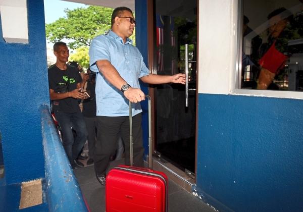 Umno supreme council member Datuk Lokman Noor Adam arrive at Bukit Aman to give statement regarding video forensic report.