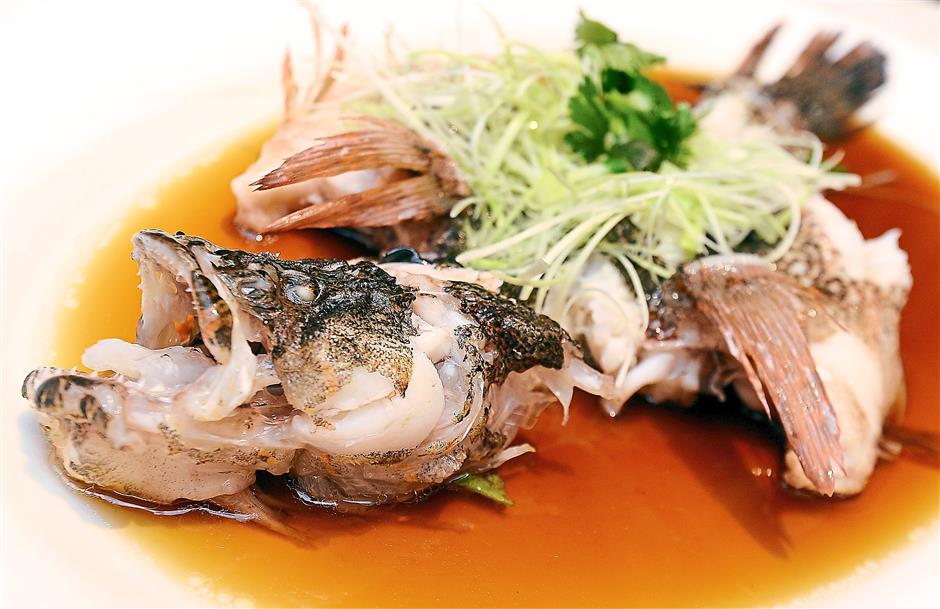 Light dish: Steamed Marble Goby with Light Soy Sauce.