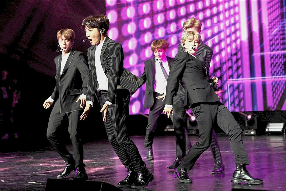 Global phenomenon: BTS performing in Paris, France, earlier this month. u2014 AFP
