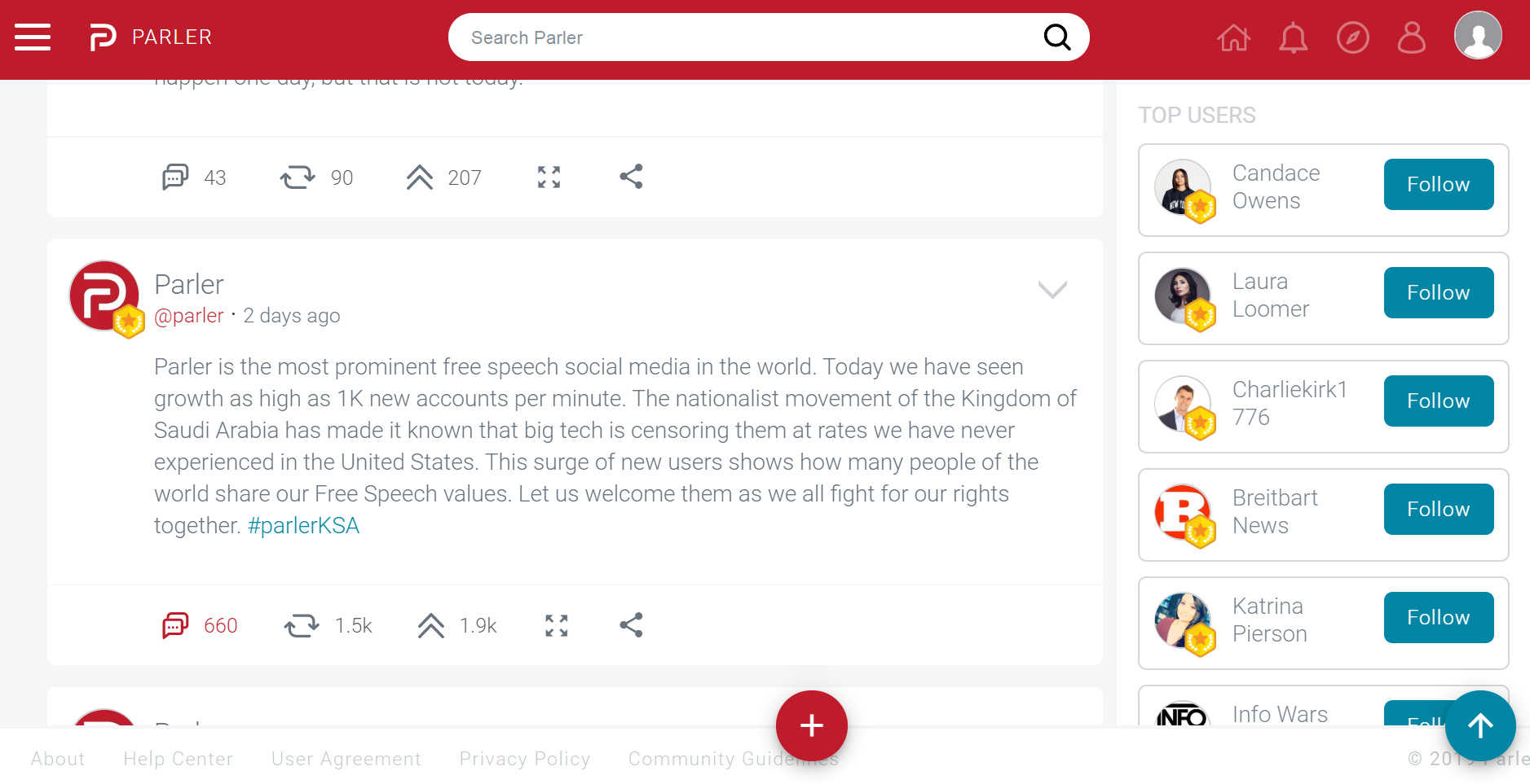 A computer screenshot of social media site Parler shows a post from the company's official account as thousands of new users who said they were from Saudi Arabia joined the site, previously used mostly by supporters of U.S. President Donald Trump, taken June 12, 2019. Parler via REUTERS