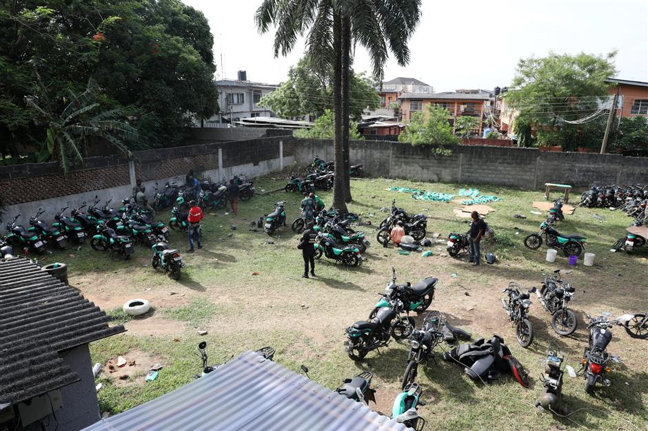 Several bikes are seen parked within the premises of Gokada bike company in Lagos, Nigeria May 3, 2019. Picture taken May 3, 2019. REUTERS/Temilade Adelaja
