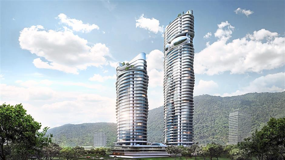 An artists impression of the two towers of the Arte S amidst the Bukit Gambir hills.courtesy pixJuly 10, 2014.