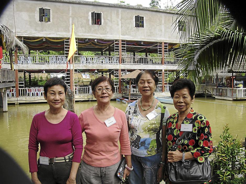 Senior citizens (from left) Gina Wong, Tan Yew Hoon, Doreen Mok and Jenny Leow Laman Pesona Resort & Spa in Raub, Pahang at  an excursion organised by SECITA.