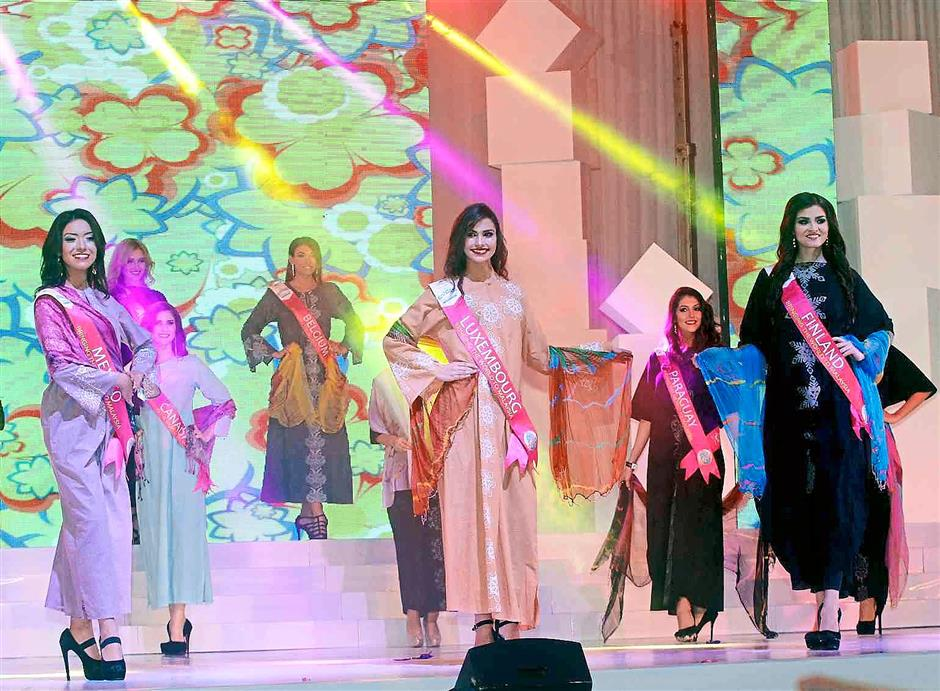 Batik for beauties: The Miss Tourism International delegates parading on stage while wearing specially designed batik outfits during the batik wear segment.