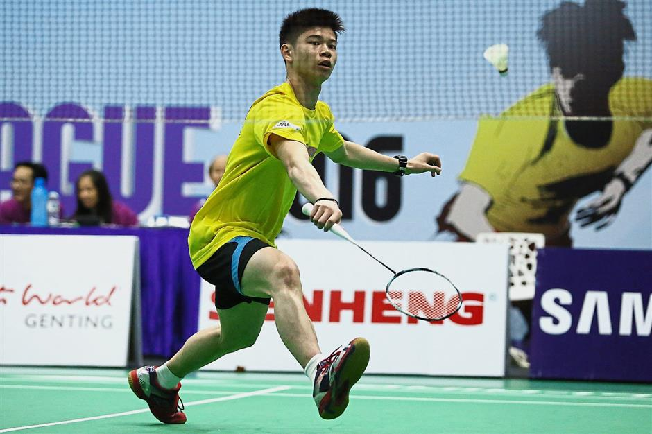 No regrets: Leong Jun Hao of Serdang BC was pleased despite losing to Hong Kongu2019s Wei Nan of Puchong United BC in the SS Purple League yesterday.