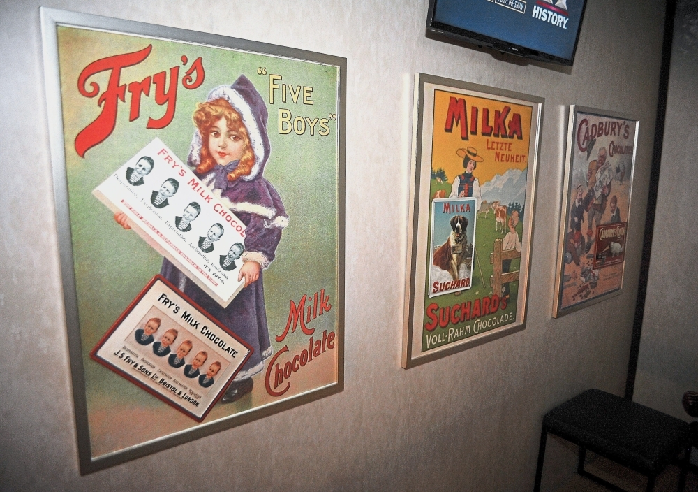 Chocolate advertisements from yesteryears displayed at the museum.