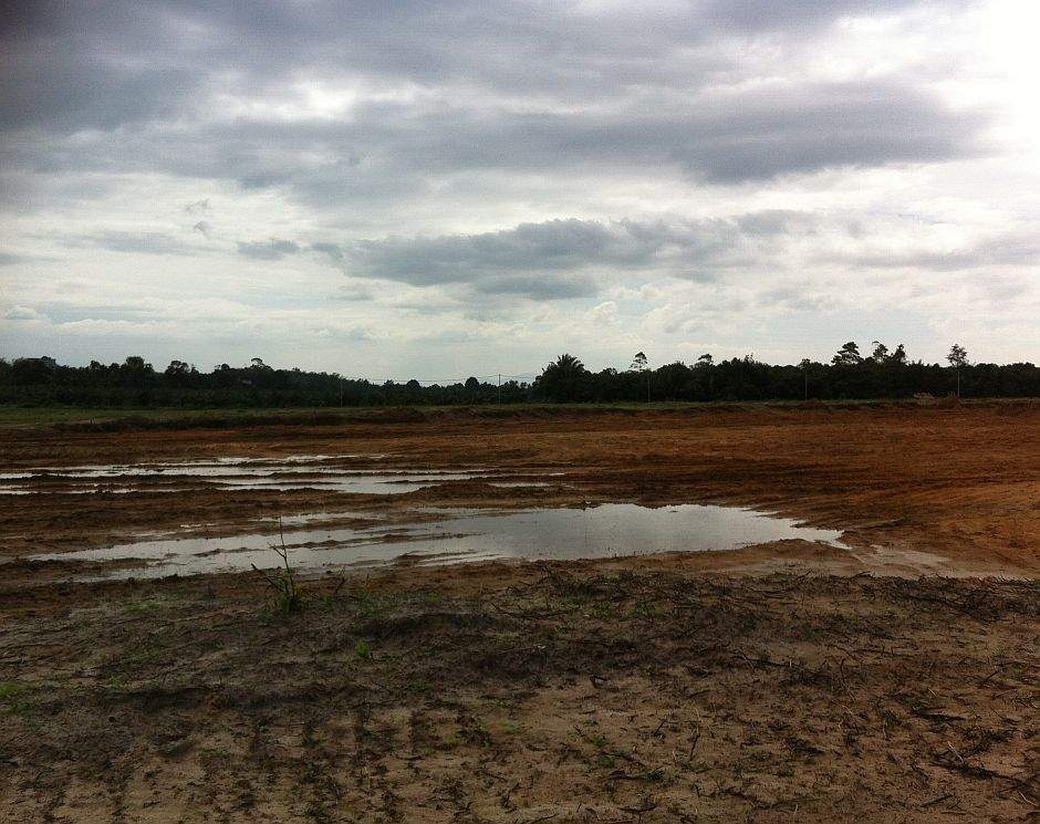 An empty piece of land after candi 11 was destroyed.