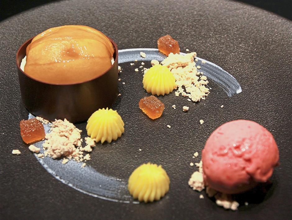 A pretty ensemble for dessert featuring Baked Fuji Apple, Matcha Financier, Peanut Butter Soil and sweet Umeshu.