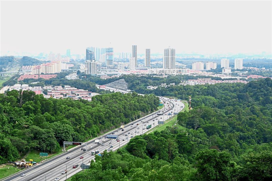 Encompassing view of NKVE and Petaling Jaya from the peak.