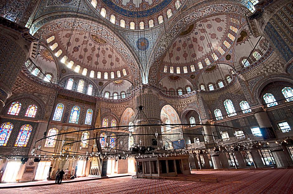 The interior of the Blue Mosque reflects the magnificence of Muslim architecture.