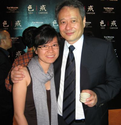 Rising talent: Charlotte Lim (left) with acclaimed film director Ang Lee during the premiere of Lust, Caution in Shanghai, in 2007, where she chipped in as the second assistant director for the movie.