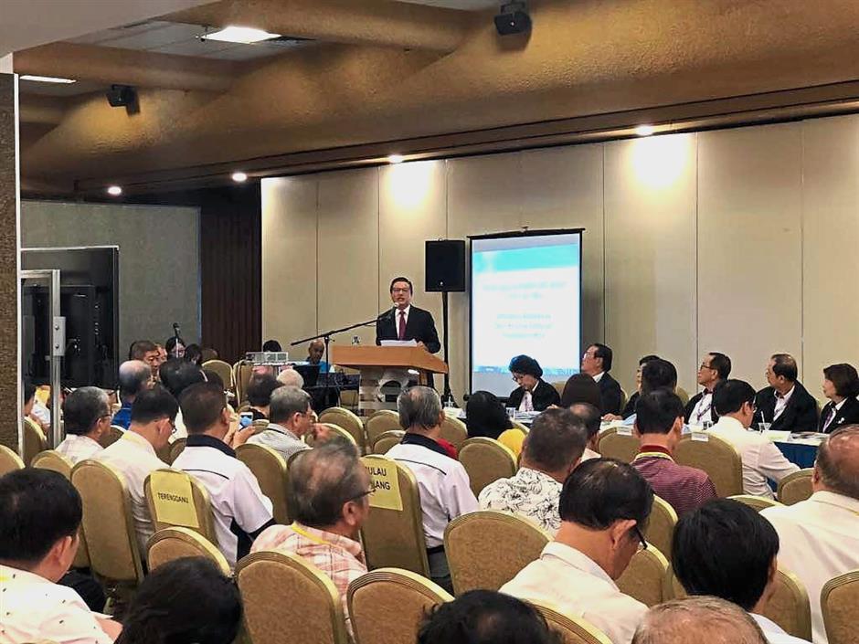 Addresing the audience: Liow speaking at Kojadiu2019s 36th annual general meeting.
