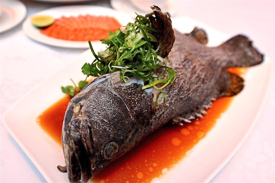 Sweet and salty: The Steamed Dragon Grouper with Superior Soya Sauce.