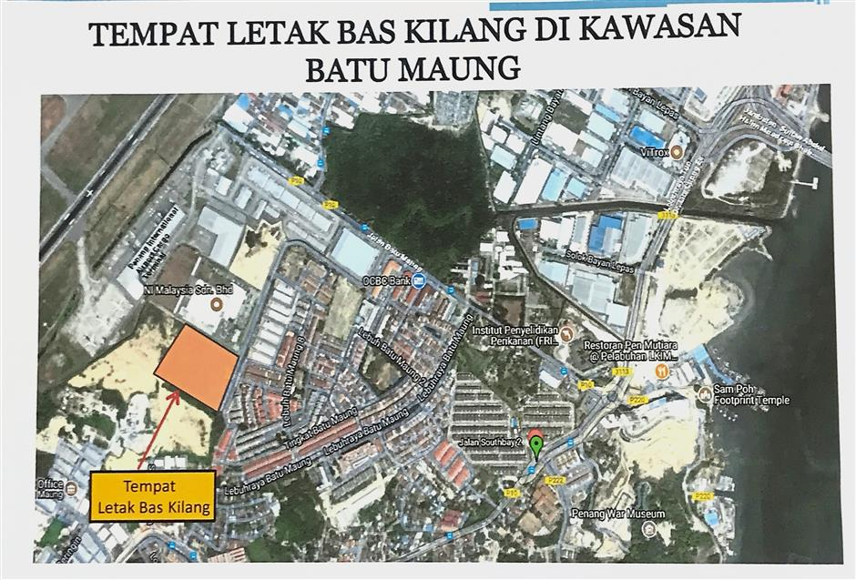 Proposed factory buses parking area in Batu Maung.