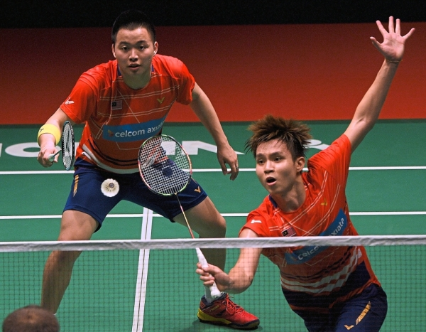 In form: Soh Wooi Yik (right) and Aaron Chia are up against 2017 world champions Liu Cheng-Zhang Nan of China in the quarter-finals of the   All-England.