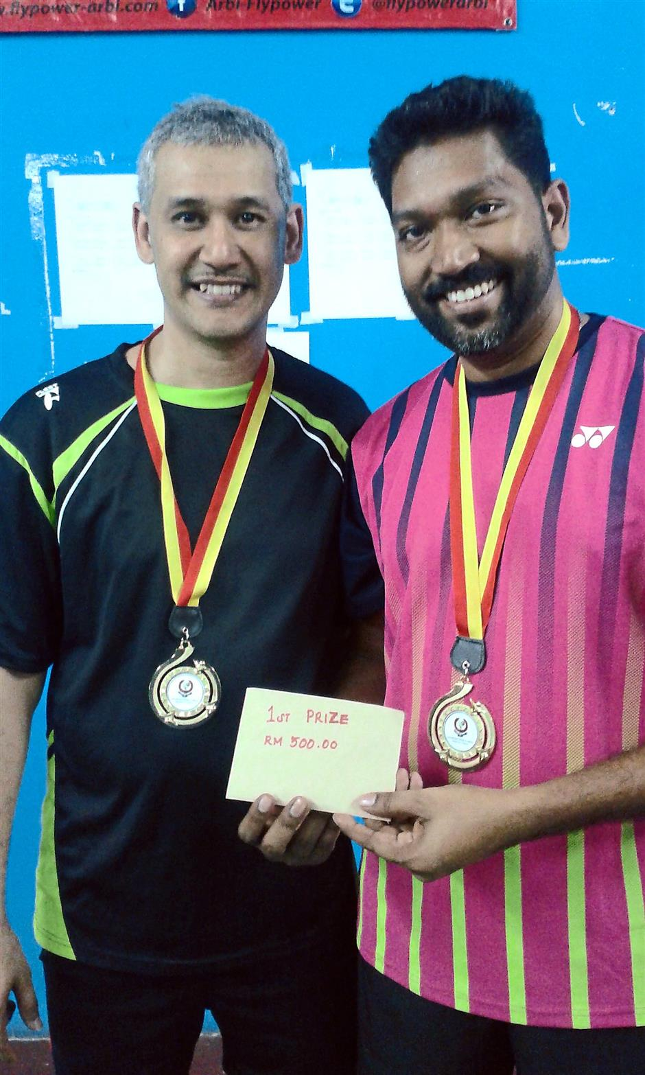 Fromidable twosome: Ganesh Tan (left) and Justin Nathan emerged champions in the Veteran Indian Badminton Doubles league.
