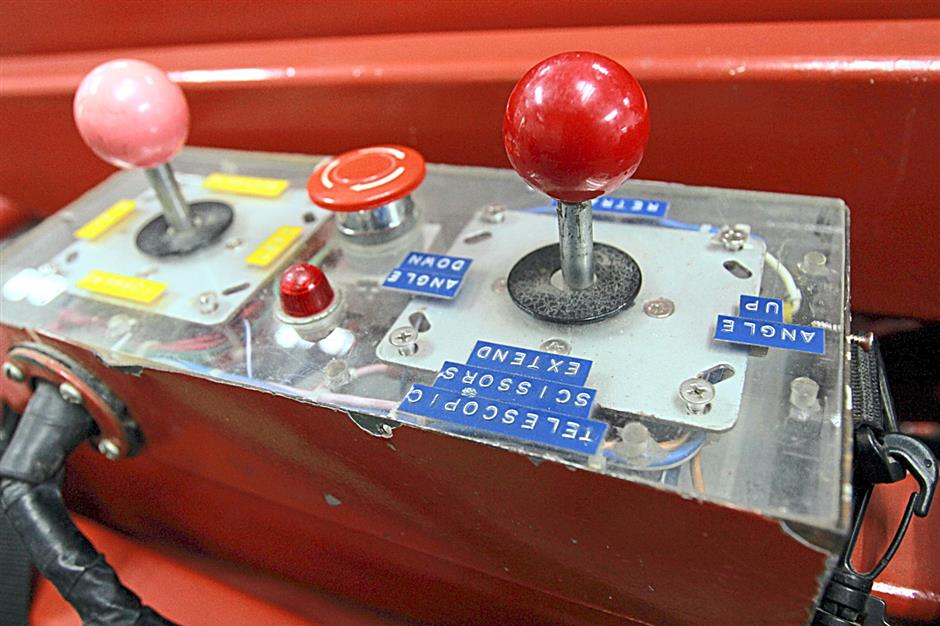 The controls for operating the fire fighting robot remotely.