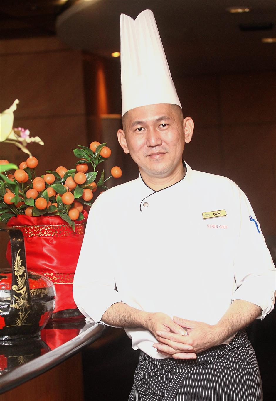 The man behind the Chinese New Year menus is Chef Chew.