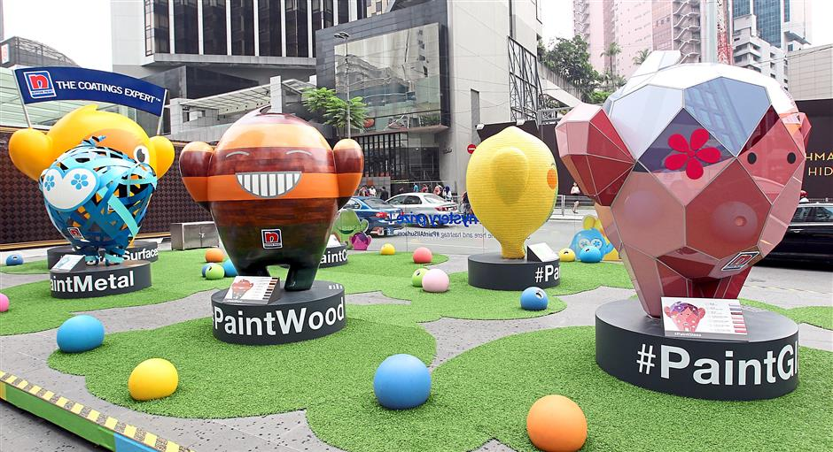 Whimsical display: Measuring almost 2.5m, the Blobbies represents different types of surfaces including cement, wood, metal, tiles and glass, that Nippon has coatings for.