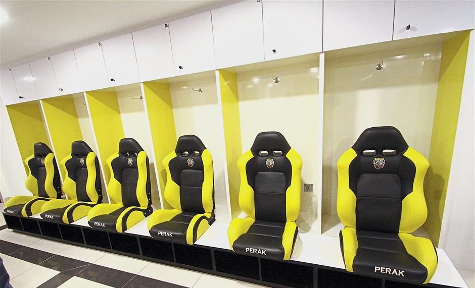The players changing room features comfortable special seats.