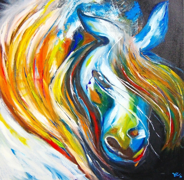 'Magnificent Horse' is an oil painting by Leong Wei Ching.