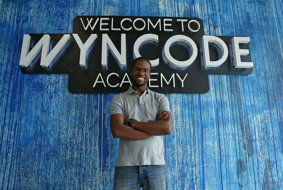 Wyntalent UX designer and Teaching Assistant Calvin Simms poses for the picture at the Wyncode Academy on Wednesday, July 18, 2018, in Miami. (David Santiago/Miami Herald/TNS)