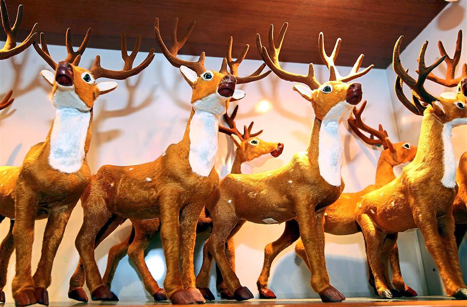 Christmas decorations like these reindeer are in demand.