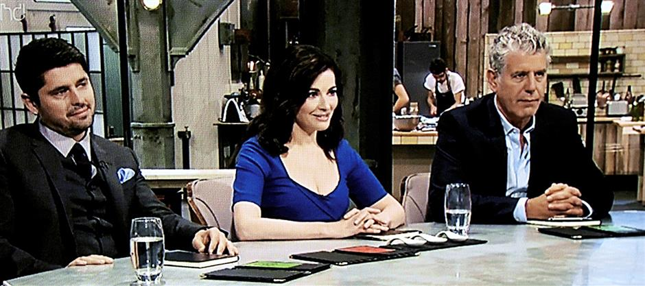 The judges on The Taste, a British television cooking competition (from left) Ludo Lefebvre, Nigella Lawson and Anthony Bourdain.