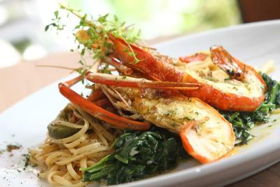 The linguine with giant prawn is a dish to rave about.