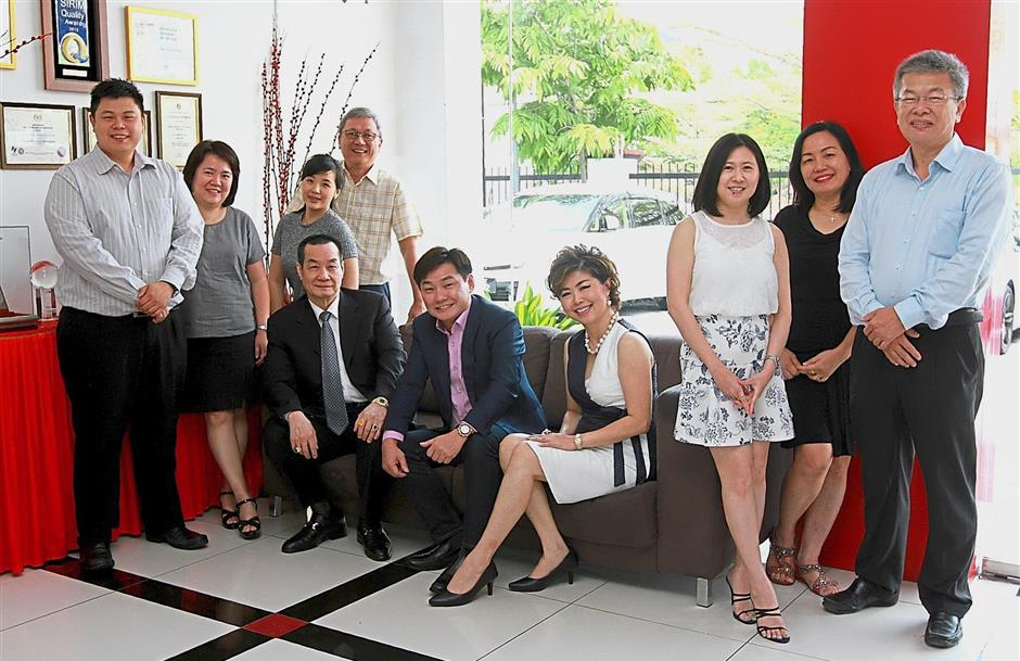 (From left) Mega Fortris (M) Sdn Bhd corporate strategy head Johnny Foo, group accountant Colleen Sim, corporate affairs manager Anne Ooi, executive director Ng Wen Choi, Nick, Adrian, marketing director Olivia Lee, personal assistant June Ooi, corporate affairs director Mag Ng and group operations director Seng Jee Tong.