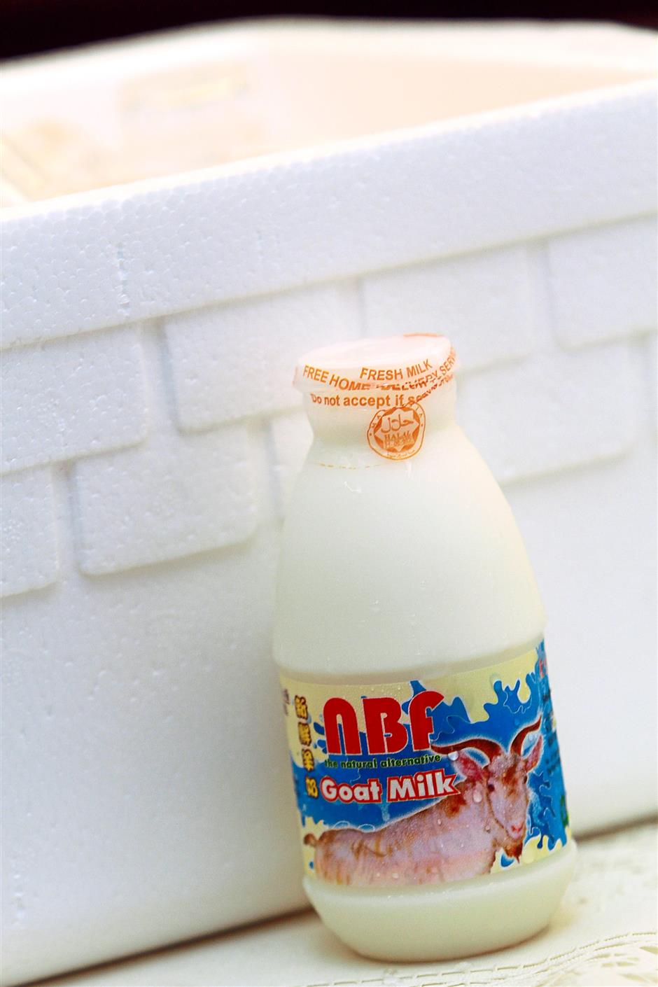 Keeping with times: The modern option of having goat's milk pasteurised, bottled and delivered to one's doorsteps.