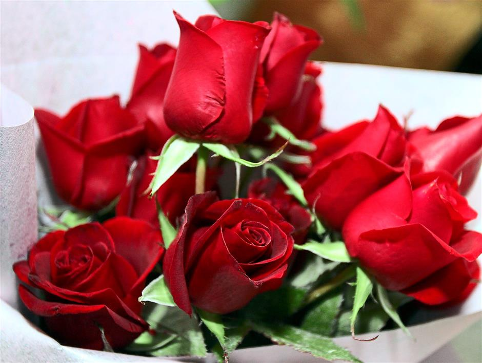 Love is in the air: Red roses remain the most popular for Valentine's.