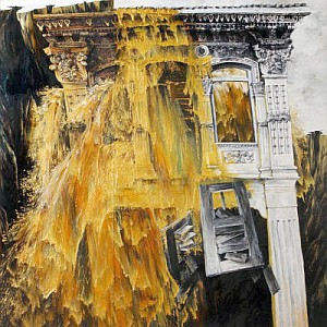 Chuah Chong Yongu2019s dramatic <i>Pre-War Building For Sale Series: The Gold Wash</i> (1996) shows a liquid gold avalanche overriding our cultural heritage.