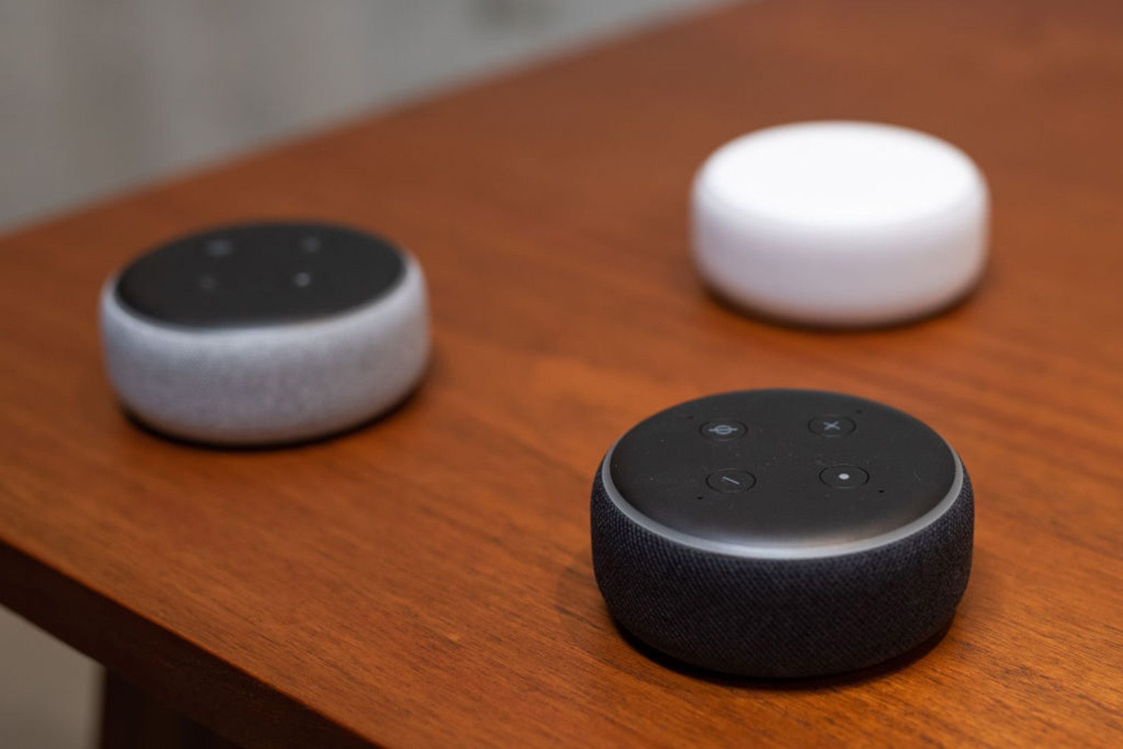 The updated Echo Dot, is displayed in Amazon's Day 1 building in Seattle on September 20, 2018. (GRANT HINDSLEY/AFP/Getty Images/TNS) *FOR USE WITH THIS STORY ONLY*