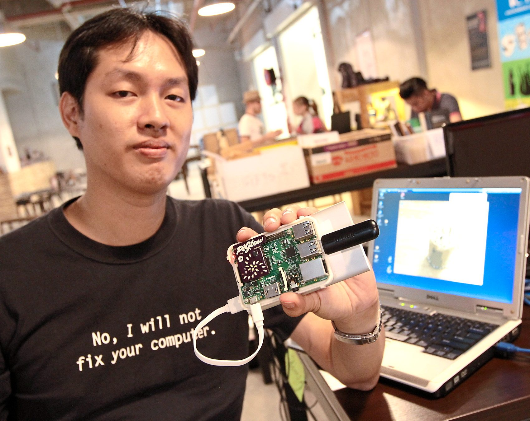 RASPBERRY PI KL: Sam Ng, the founder of  Raspberry Pi Penang, Raspberry Pi Klang Valley shows of his Raspberry Pi at the Makespace.