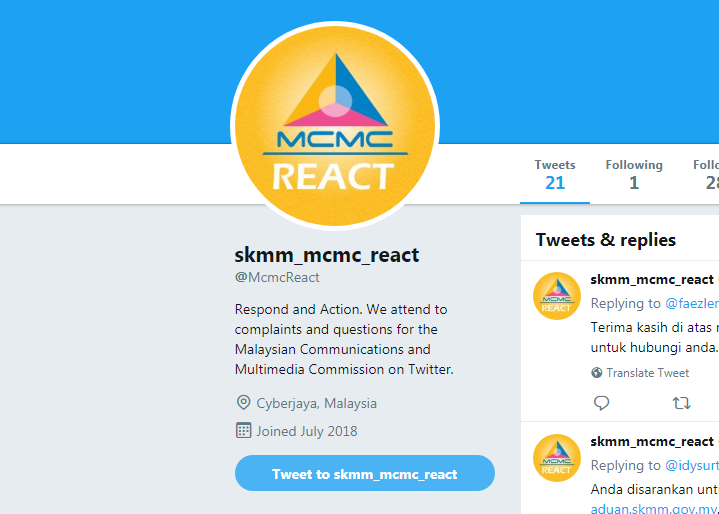 You can now tweet MCMC for Internet and mobile complaints