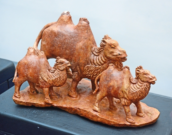A Shoushan stone carving of camels from the Ming era.