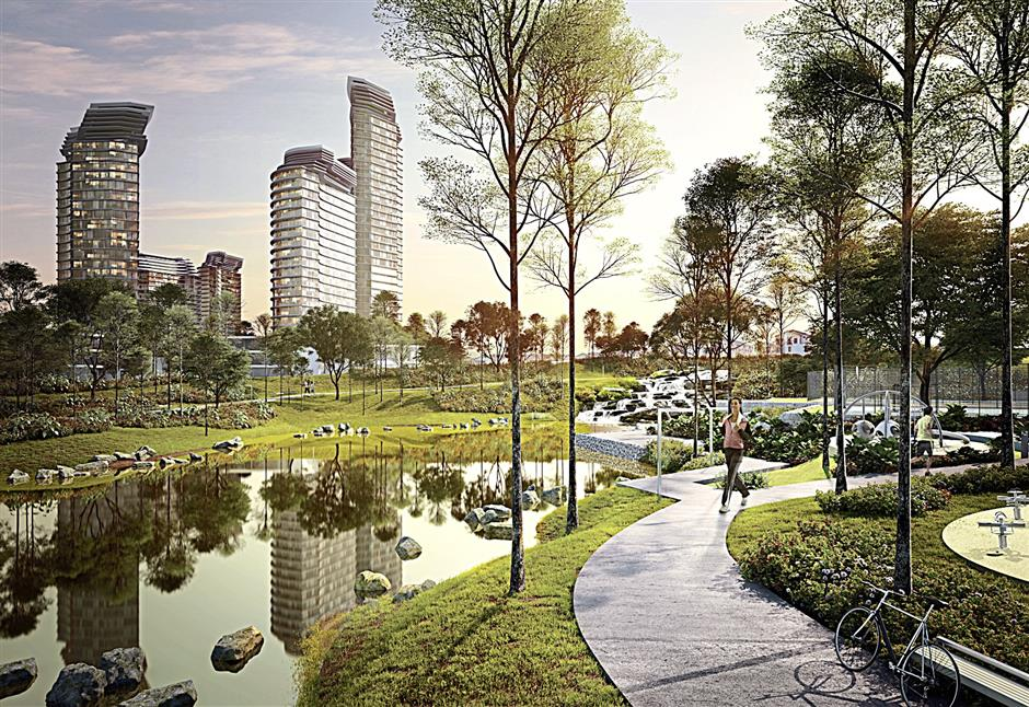 A rendering of the 16-acre Central Park in Tropicana Heights, Kajang, which will feature a 750-metre linear lake.