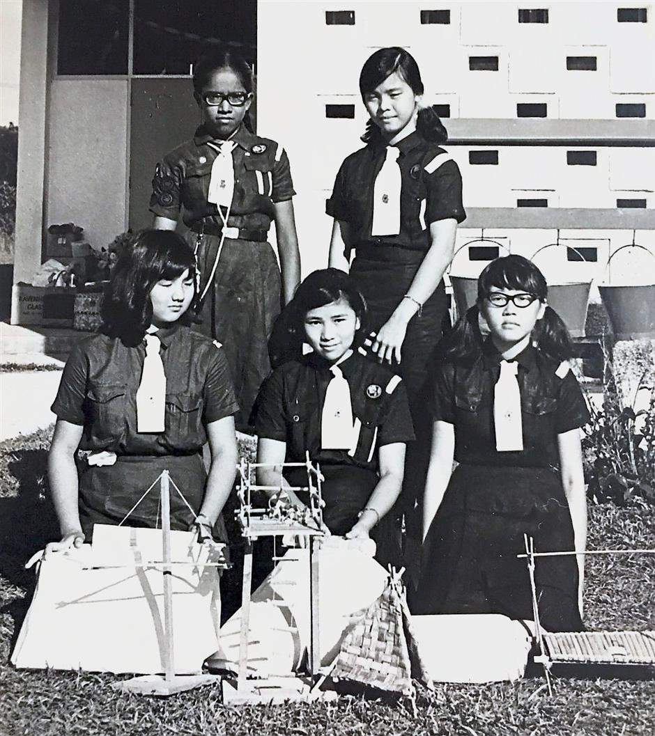 Jeyadhevi (standing, left) and her fellow Girl Guides after winning a state-level gadget competition in 1967.