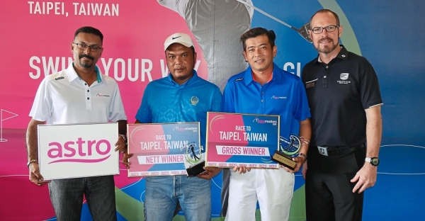 (From left) Jeganathan, Mohd Kamrul, Tan and Els Club Teluk Datai golf operations director Aaron Johnston at the prize-presentation ceremony.