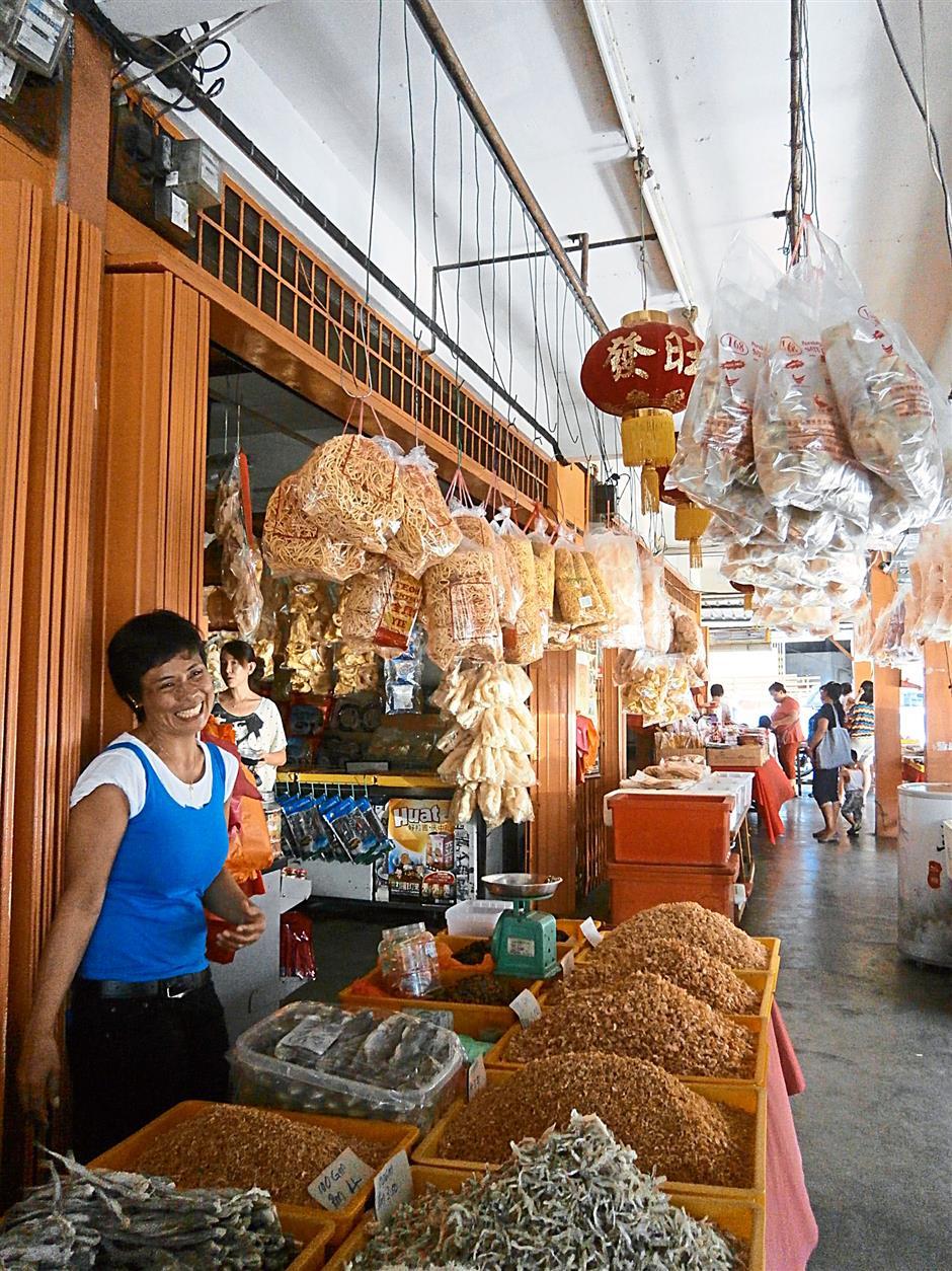 The dried seafood and snacks sold at shops in Pasir Penambang, Kuala Selangor.