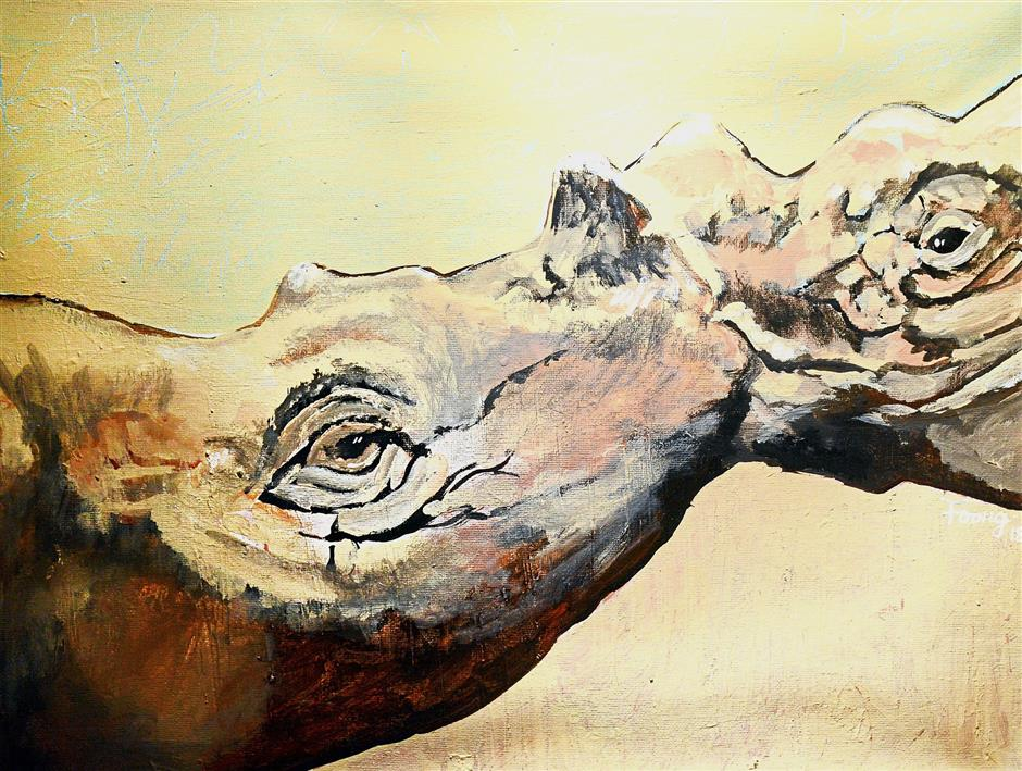 Choy Meng Fong's 'Loving', painted with acrylic on canvas, captures a tender moment in the animal kingdom.